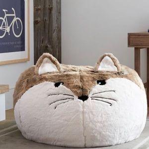 New Pottery Barn Faux Fur Fox Bean Bag Cover